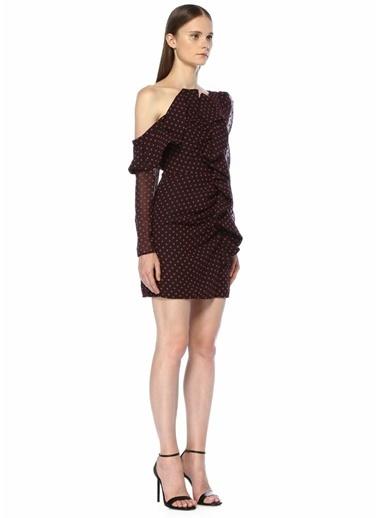Self Portrait Tek Omuzlu Fermuar Kapatmalı Mini Elbise Lacivert